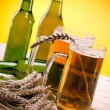 Stock Photo: Chilled beer on wooden table