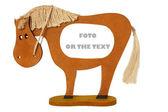 Photoframework i form av en trä leksak horsy — Stockfoto