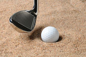 Golf Ball in Sand Trap — Stock Photo