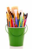 Bucket of Artist Brushes — Stock Photo