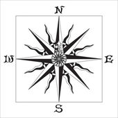 WIND ROSE black & white — Vettoriale Stock