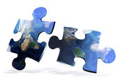 Global map puzzles comunication — Stock Photo