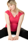 Frau schwanger sitzend — Stockfoto