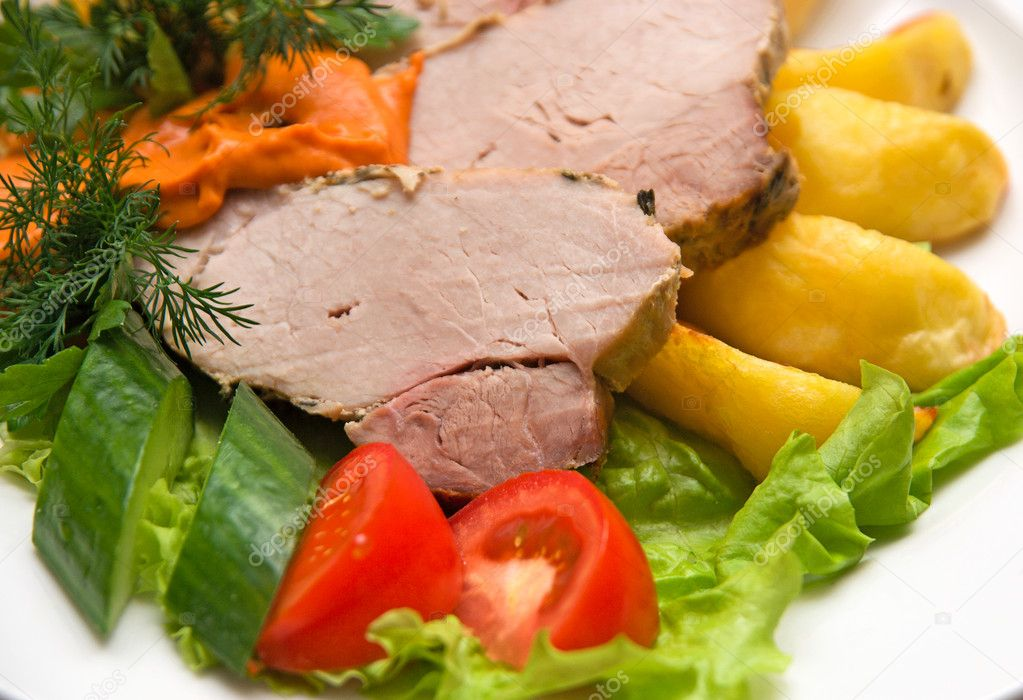 Close op of Tasty meat dish with fresh vegetables  Stock Photo #2746942
