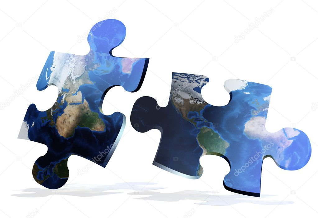 Global map puzzles comunication on white background — Lizenzfreies Foto #2748025