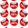 Red sale labels badges — Stock Vector #2746192