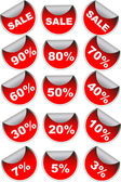 Red sale labels badges — Stock Vector