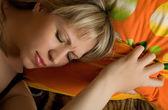 Sleeping pretty blonde caucasian woman — Stock Photo