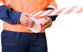 Stretch warning tape — Stock Photo