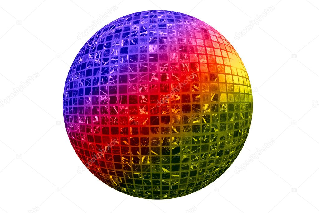Color disco ball isolated on white background — Stock Photo #2755779
