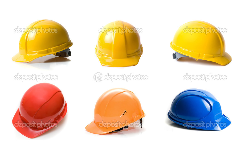 Different color helmets set isolated on white background — Stock Photo #2757890