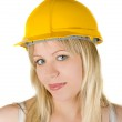 Pretty woman builder — Stock Photo