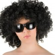 Stock Photo: Frizzy womwith sunglasses