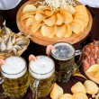 Beer and snacks set — Stock Photo