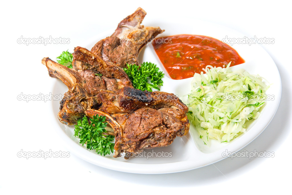 Dish of barbecued ribs isolated on a white background — Stock Photo #2760252
