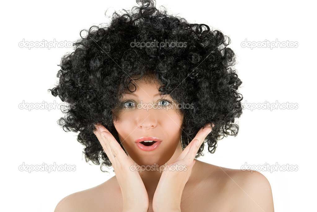 Wonder young frizzy woman isolated over white background — Stock Photo #2763905