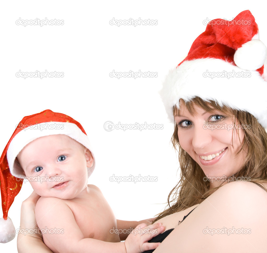 Beautiful mommy santa and her baby Santa boy on a white  Stock Photo #2765194