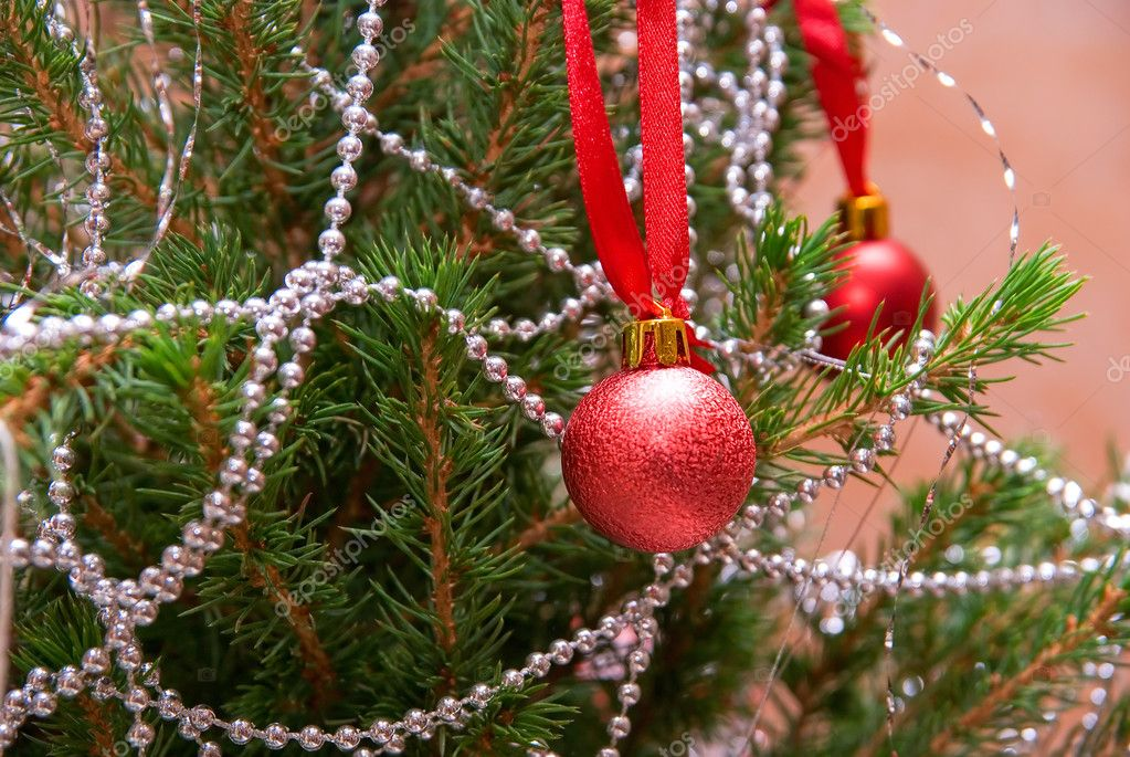 Happy new year: Christmas firtree closeup with decoration — Stock Photo #2765370