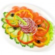 Sliced vegetables at the dish - Stock Photo