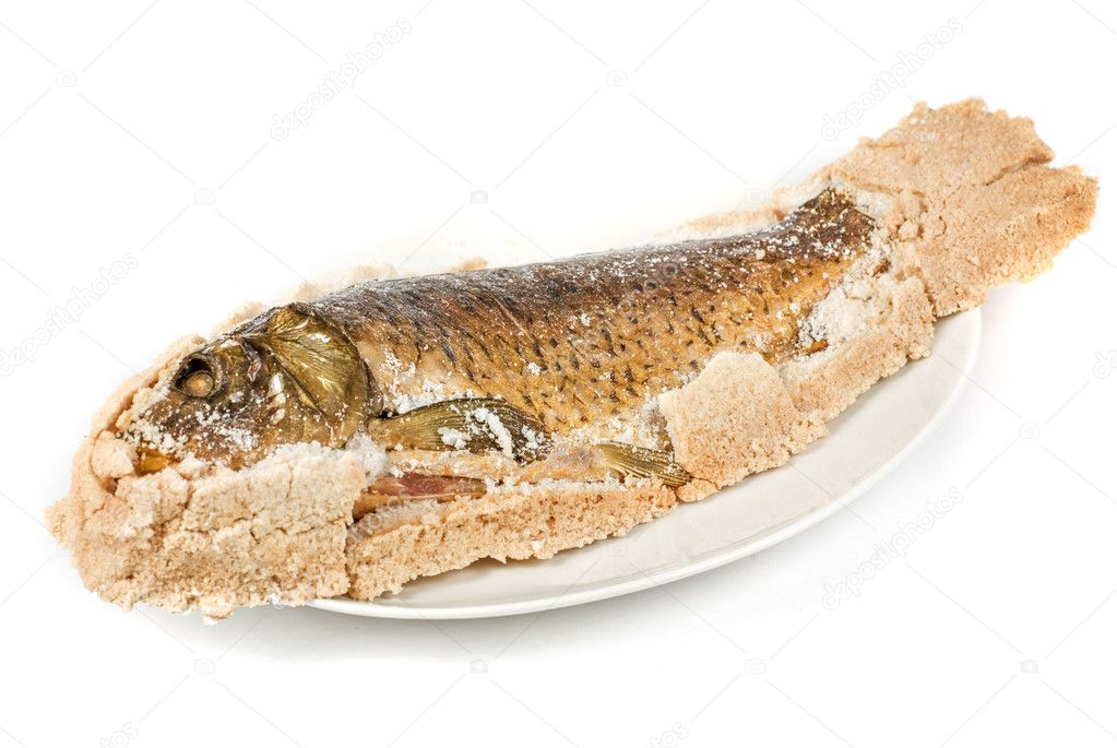 Fish carp baked with bay salt closeup — Stock Photo #3142914