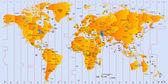 タイムゾーンの地図 — ストックベクタ