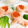 Stock Photo: Fried salmon filet with red caviar