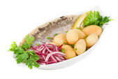 Herring with potato and vegetables — Stock Photo