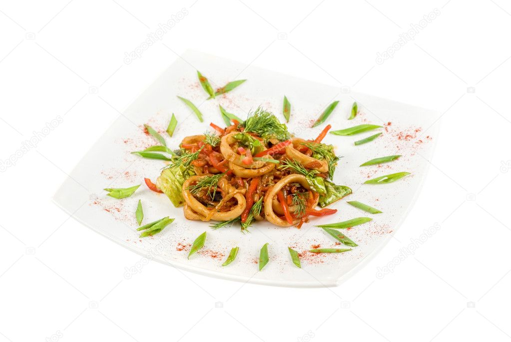 Seafood salad with squid and vegetables closeup — Stock Photo #3281843