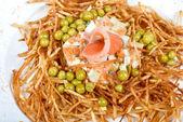 Closeup of salad with salmon fish — Stock Photo