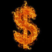 Fire dollar sign — Stock Photo