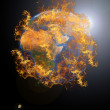 Earth planet at fire — Stock Photo
