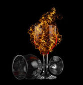 Red wine fire — Stock Photo