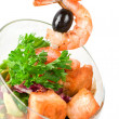 Fried kebab of shrimps and fish — Stock Photo