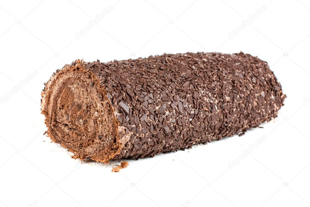 Chocolate Swiss roll closeup isolated on a white background — Stock Photo #3741135