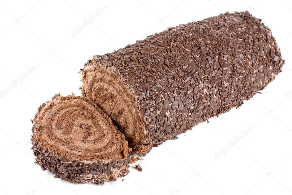 Chocolate Swiss roll closeup isolated on a white background — Stock Photo #3741136