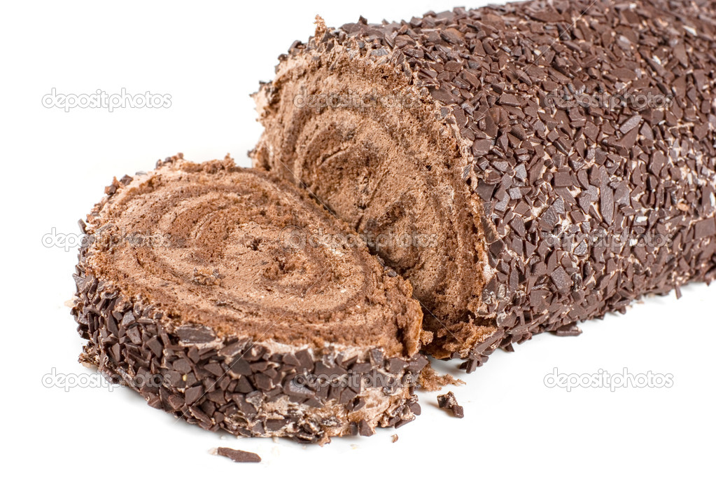 Chocolate Swiss roll closeup isolated on a white background  Stock Photo #3741139