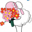 Stock Vector: Sheep with flowers