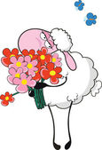 Sheep with flowers — 图库矢量图片