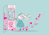 Spring knocks on the door — Vector de stock