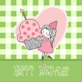 Happy birthday greeting card — Stockvector