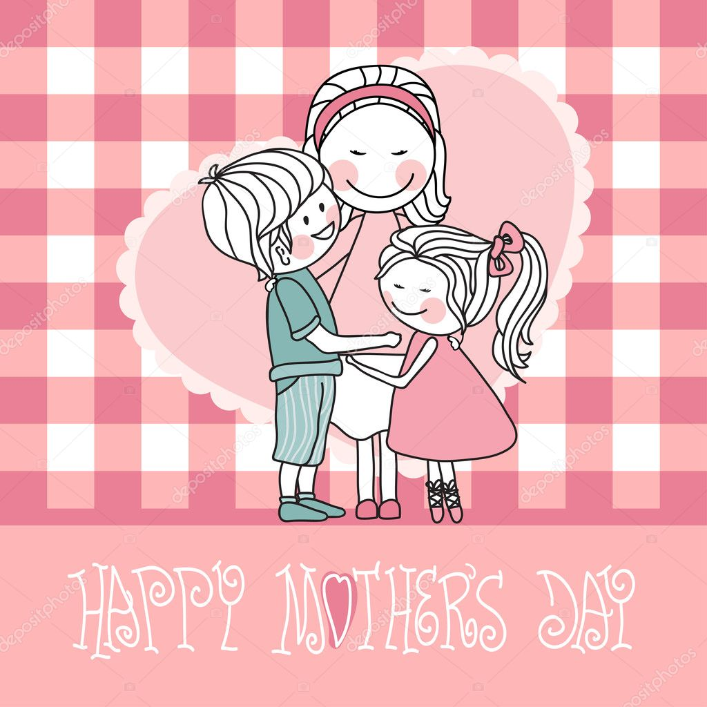 Vector illustration of mother hugs kids. — Stock Vector #2834376