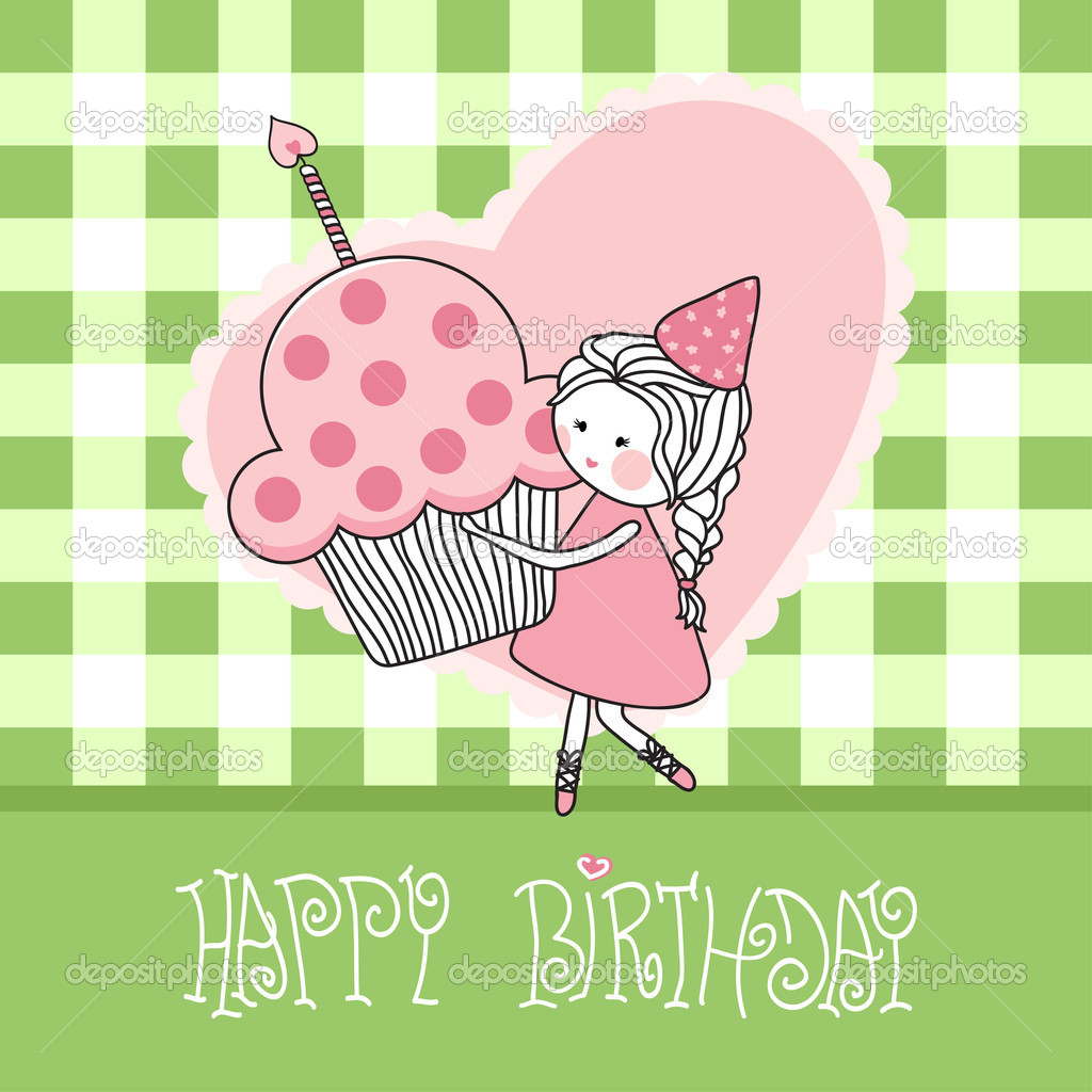 Vector illustration of happy birthday greeting card with girl with cupcake. — Stok Vektör #2834399