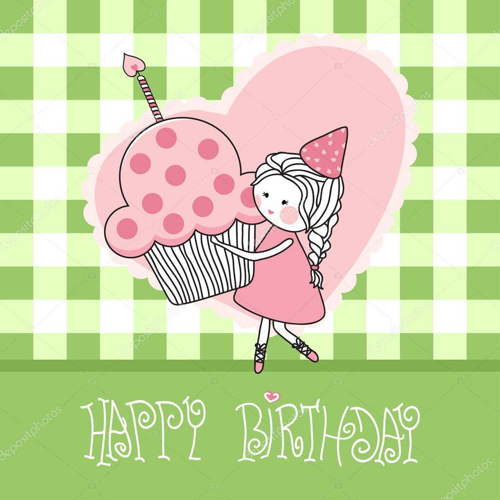 Vector illustration of happy birthday greeting card with girl with cupcake. — ベクター素材ストック #2834399