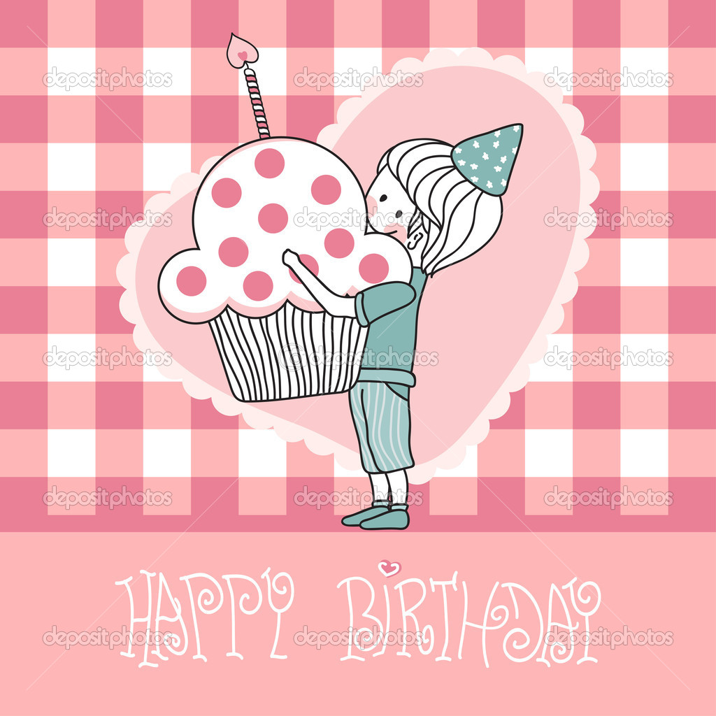 Vector illustration of happy birthday greeting card with boy with cupcake. — ベクター素材ストック #2834407