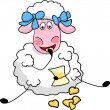 Sheep eats cookies — Stock Vector