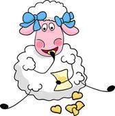 Sheep eats cookies — Stock Vector