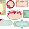 Various vintage romantic labels - Stok Vektör