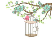 Bird and birdcage — Vector de stock