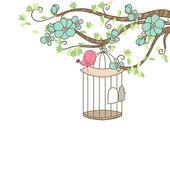 Oiseaux et cage à oiseaux — Vecteur