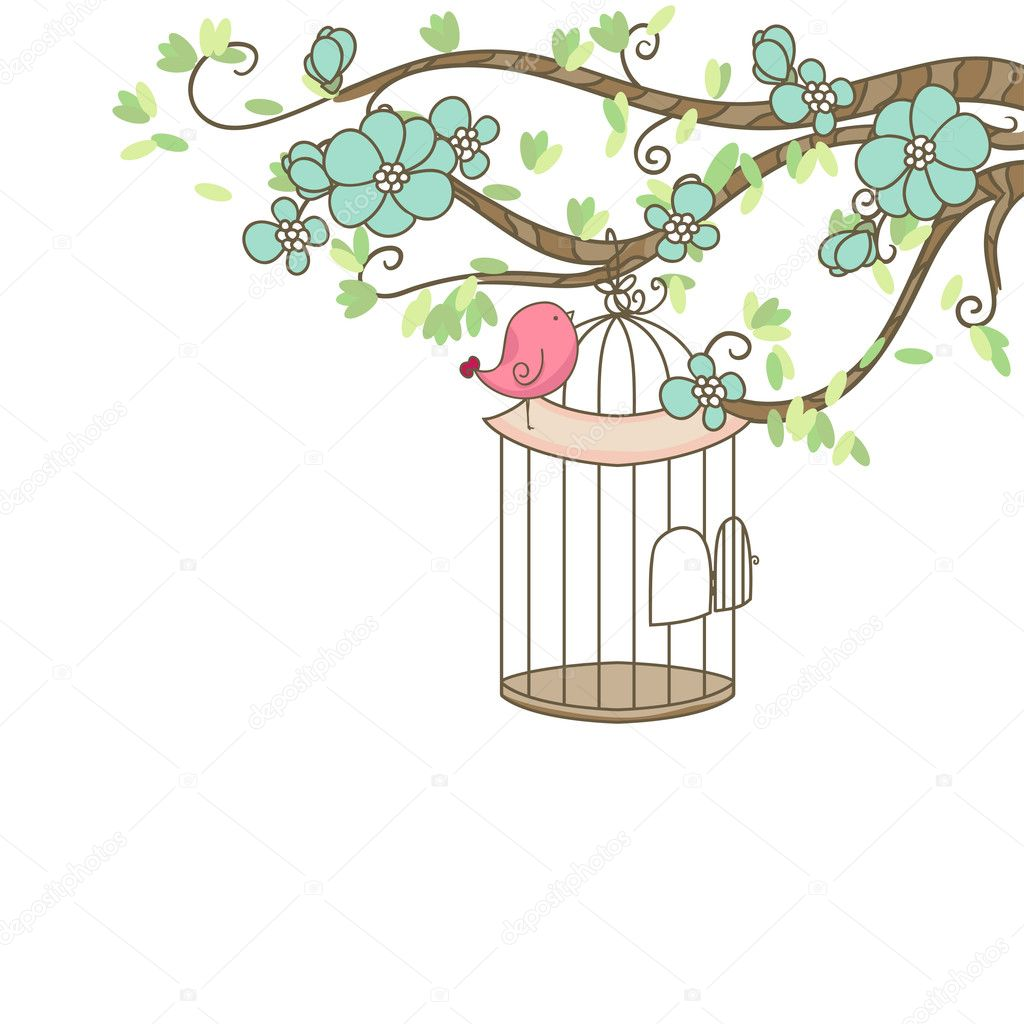 Bird and birdcage   Stock Vector #3550198